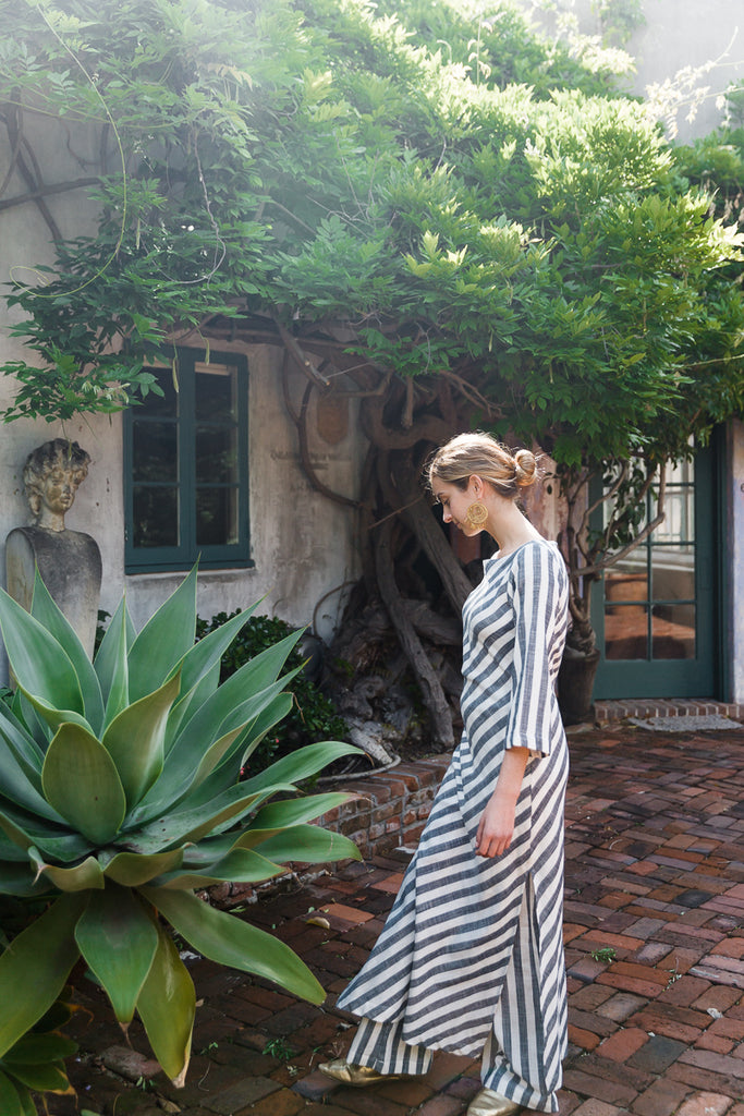 Cordoba Cabana Dress - Grey and White Stripe
