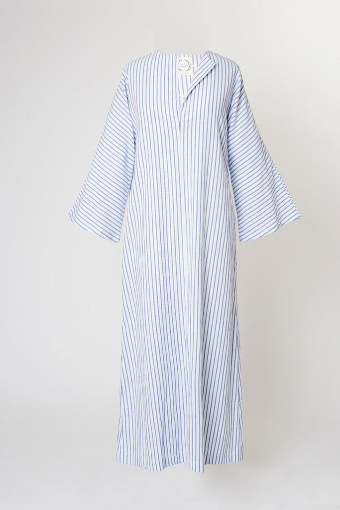 Portola Cabana Dress - White with Azul Stripe