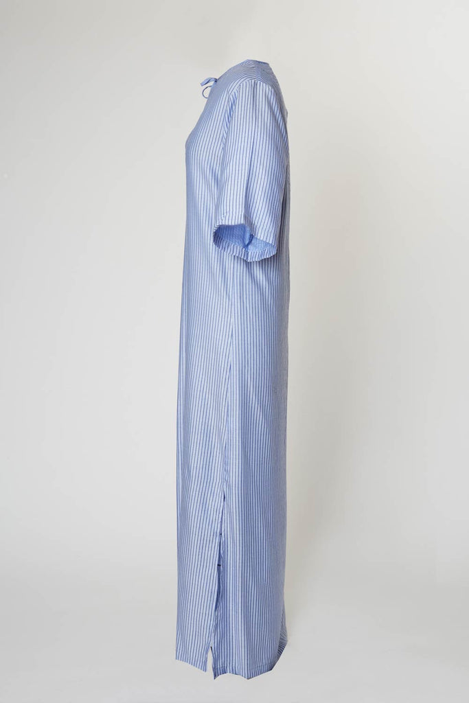 Segovia Cabana Dress - Sky blue with navy pinstripe