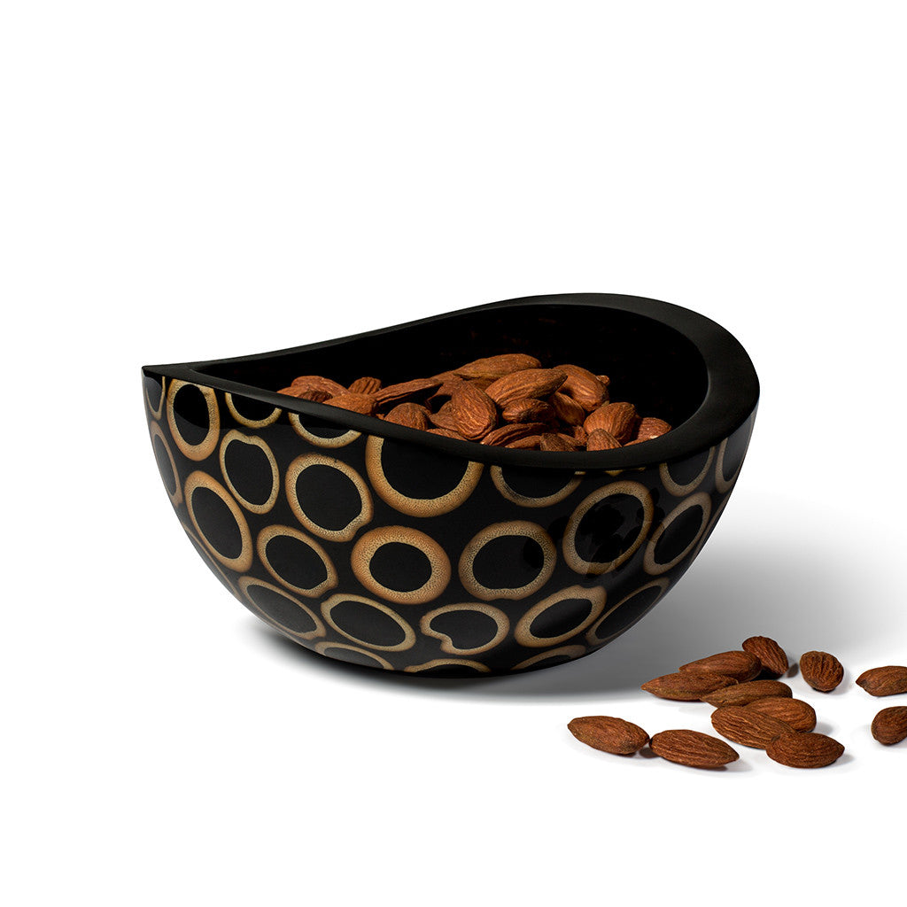 handmade black bamboo with beige rings pattern small bowl with almonds inside