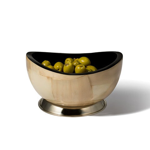handmade burl veneer accent bowl light with brown ethereal geometric pattern and black interior containing green olives