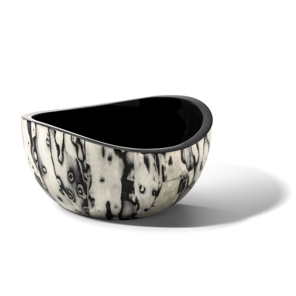 handmade wood veneer accent bowl with black and white organic pattern empty