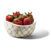 handmade tagua accent bowl with off-white circle pattern filled with red strawberries