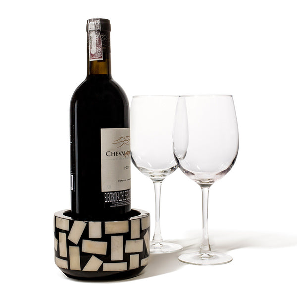 handmade rectangular bone inlaid into black wood bottle coaster with wine bottle and two wine glasses