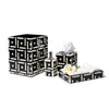 Bone Domino Black Tissue Box
