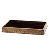 handmade beige and black mosaic patterned totumo wood bath tray