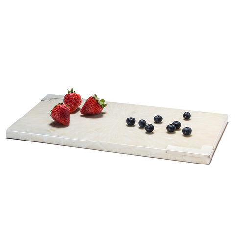 handmade white bone inlay rectangular serving board with german silver detail and berries