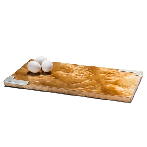 handmade light brown and dark brown spotted burl veneer rectangular serving board with three eggs