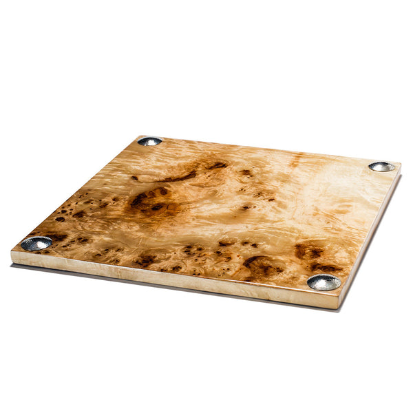 handmade light brown and dark brown spotted burn veneer square serving board with hammered german silver circles on corners