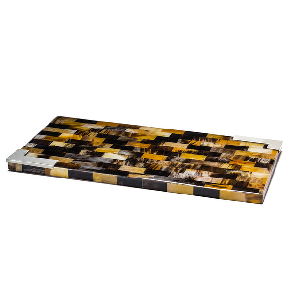 handmade black and light brown chequered natural horn rectangular serving board with german silver corners