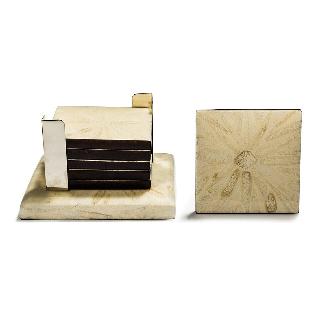 handmade light almendro bone square german silver on base with wood bone coaster set with coasters in container