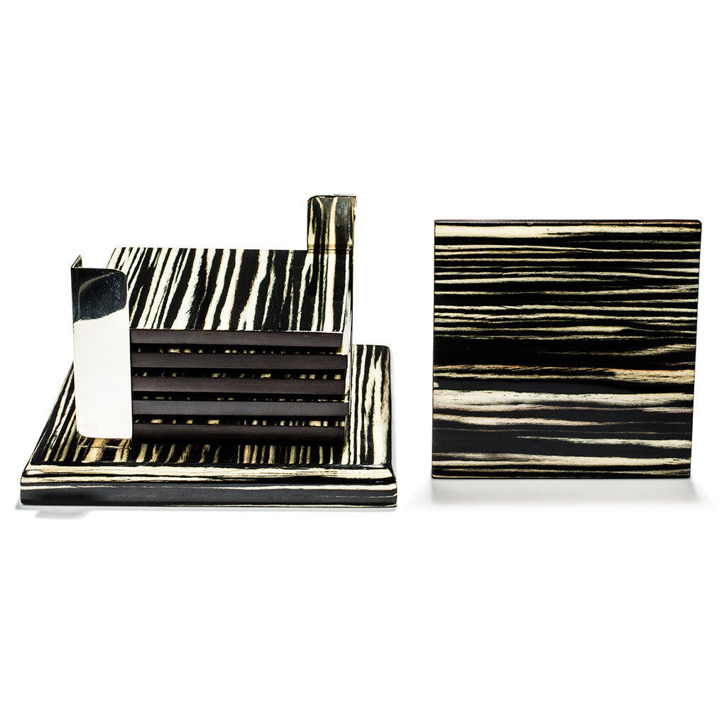 handmade black and cream striped ebano veneer square german silver wood coaster set coasters stacked one on side