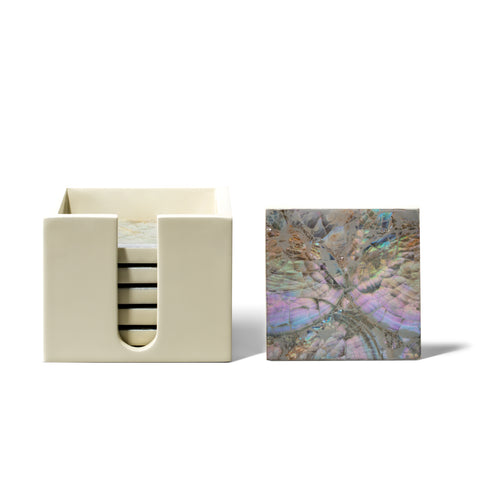 handmade iridescent mother of pearl natural wood square coaster set coasters and container