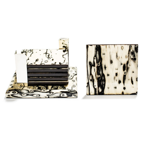 handmade black and cream ojo de pajaro and german silver wood square coasters on base