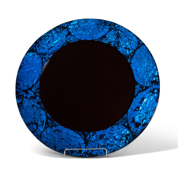 handmade blue mother of pearl iridescent rim of charger plate