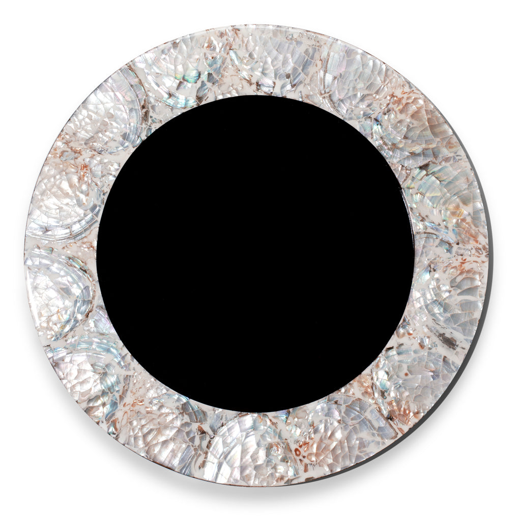 handmade natural iridescent mother of pearl charger plate with pearl rim and dark wood interior
