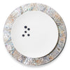 handmade natural iridescent mother of pearl charger plate with pearl rim with plate in center with five blueberries