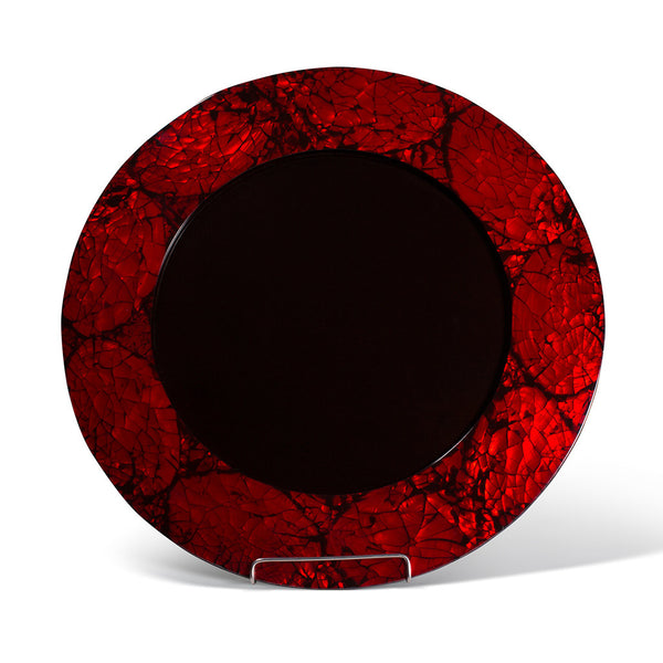 handmade ruby red iridescent mother of pearl charger plate rim with dark wood interior