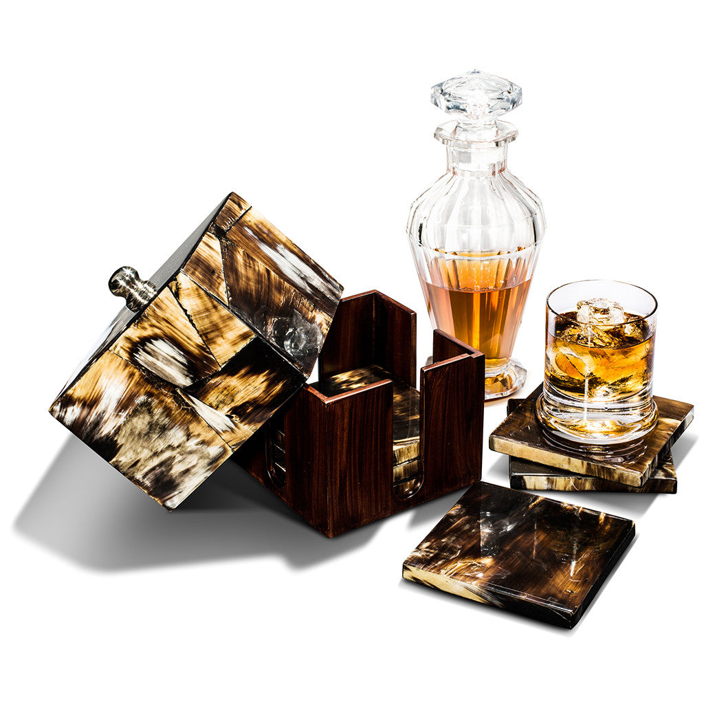 handmade black-beige splatter horn veneer german silver wood square coaster set with coasters coaster box drinking glasses