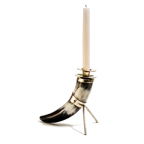 handmade single black and white horn with german silver stand and white taper candle