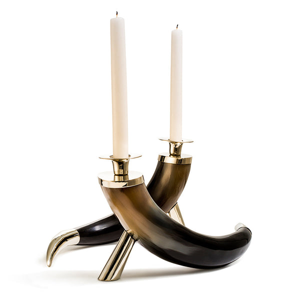 LADORADAhandmade dark brown and light brown set of two natural horns with german silver stand and tip with two ivory taper candles