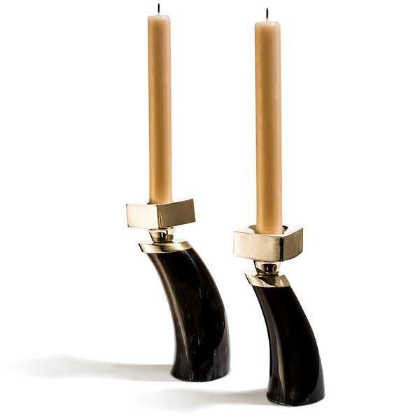 handmade black set of two small horn candle holders with german silver and two gold taper candles
