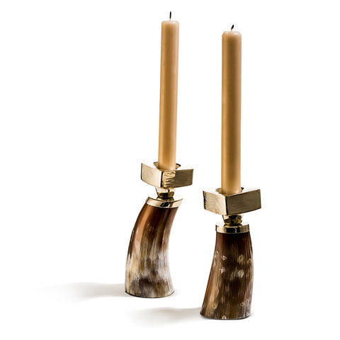 handmade brown and cream variegated set of two small horn candle holders with german silver and two gold taper candles