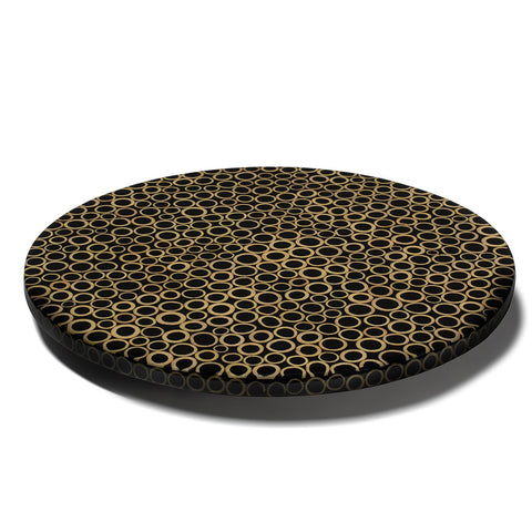 handmade light brown bamboo rings on black wood round round lazy susan