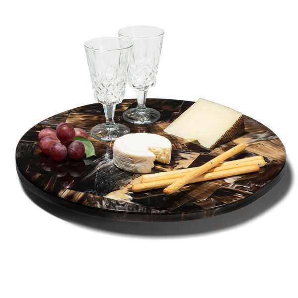 handmade brown and cream horn wood inlay round lazy susan with two glasses and cheeses