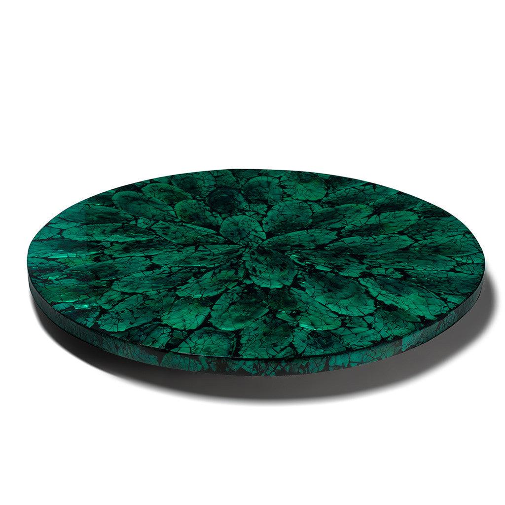 handmade emerald green iridescent mother of pearl on wood inlay round lazy susan revolving tray