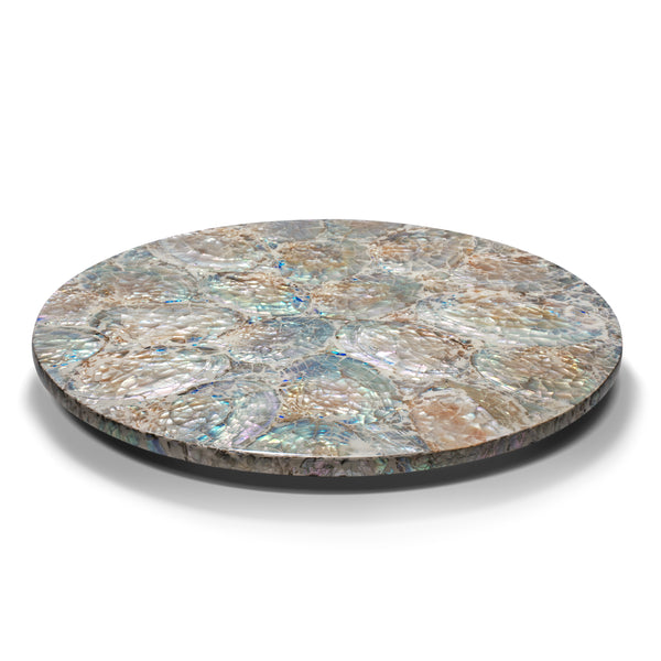 handmade iridescent colors with white natural mother of pearl round lazy susan revolving tray on wood