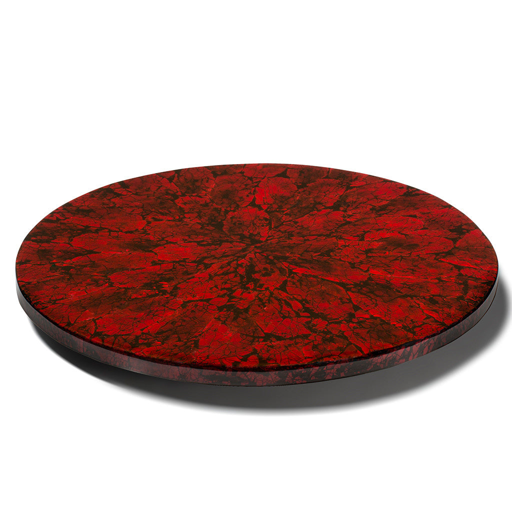 handmade ruby red iridescent mother of pearl on wood inlay round lazy susan