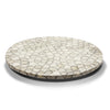 handmade tagua seed round white and grey pattern on wood round lazy susan revolving tray