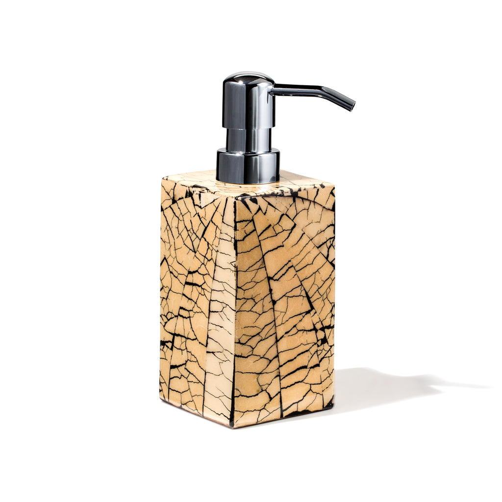 handmade black and tan mosaic patterned square soap dispenser with silver pump