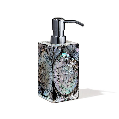 handmade iridescent mother of pearl wood soap dispenser