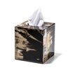 handmade black and beige geometric horn veneer wood tissue box with tissue
