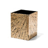 handmade beige and black cracked patterned totumo wood wastebin