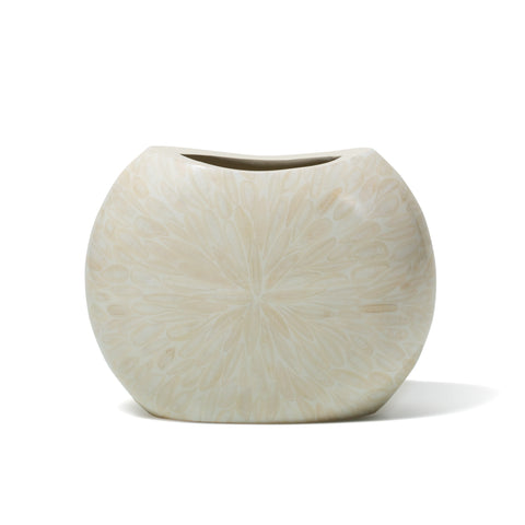 handmade cream bone on white wood circular flower vase with narrow opening