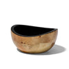 handmade burl veneer bowl with light brown atmospheric geometric pattern and black interior empty