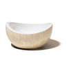 handmade almendro bone wood bowl with beige almond pattern empty with white interior