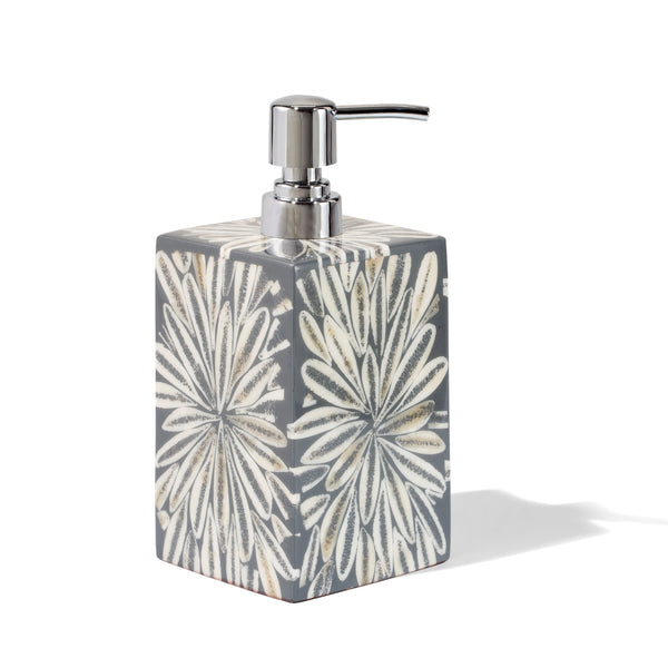 handmade gray and white loop patterned almendro bone wood soap dispenser with silver pump