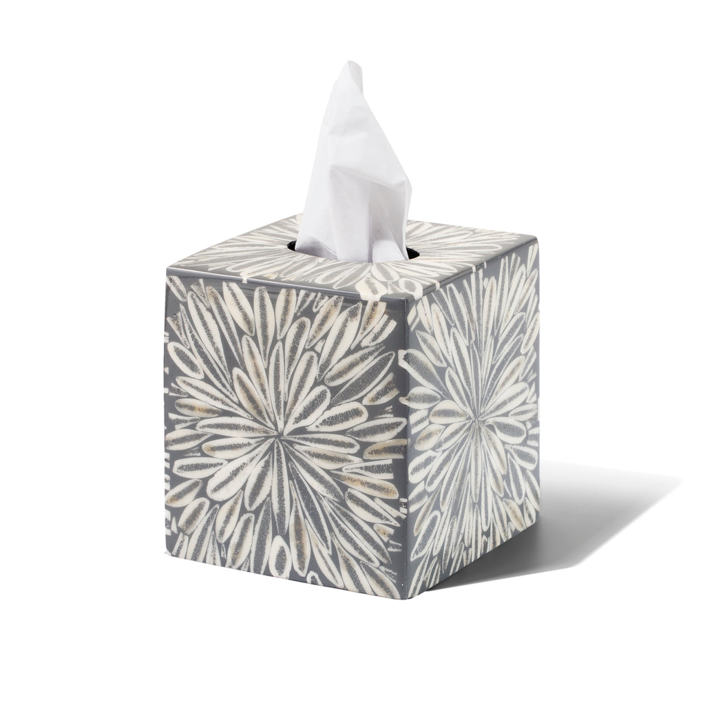 handmade gray and white loop patterned almendro bone wood tissue box with tissue
