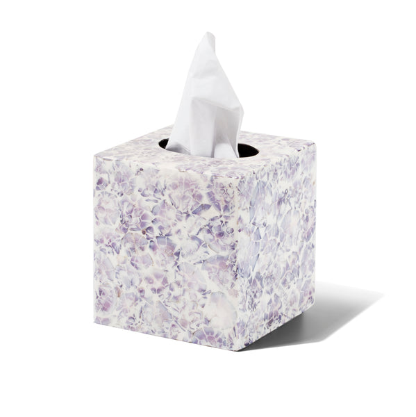 handmade purple and white mosaic patterned natural sea shell wood tissue box with tissue