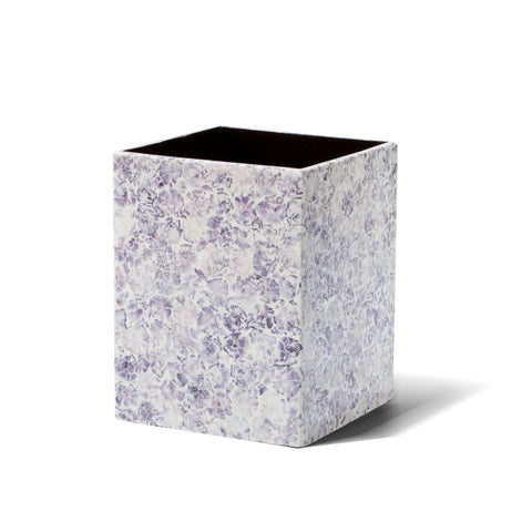 handmade purple and white mosaic patterned natural sea shell wood waste bin