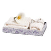 handmade purple and white mosaic patterned natural sea shell wood bath tray with towels and flower inside
