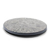 handmade gray round lazy susan with white bone inlay in floral pattern