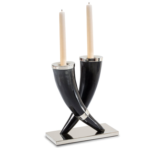 handmade black and grey variegated natural horn candle holders with german silver accents set on german silver base and two ivory taper candles