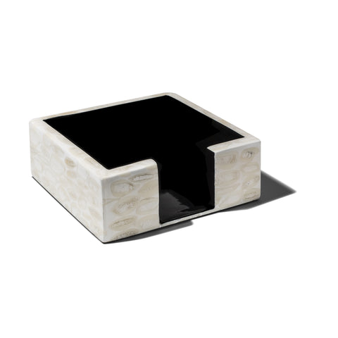 handmade cream-colored bone almendro square cocktail napkin holder with dark brown wood inside
