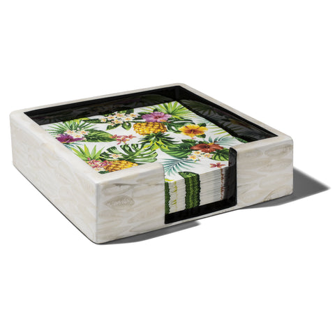handmade cream-colored bone almendro square luncheon napkin holder with tropical-print napkins inside