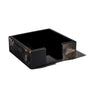 handmade brown tones horn square luncheon napkin holder with black wood inside empty